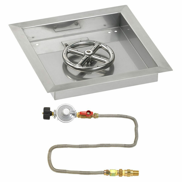 "American Fireglass 12"" Square Drop-In Pan with Match Lite Kit - Propane"