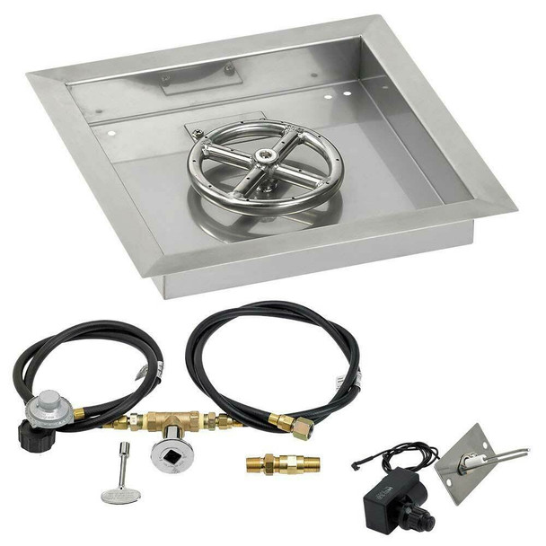 "American Fireglass 12"" Square Drop-In Pan with Spark Ignition Kit - Propane"