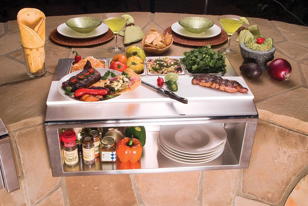 Alfresco Built-In 30-Inch Plate & Garnish Center with Food Pans (APS-30P)