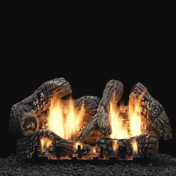 Empire Vent Free Super Charred Oak Gas Log Set With Slope Glaze Burner and Electronic Variable Remote