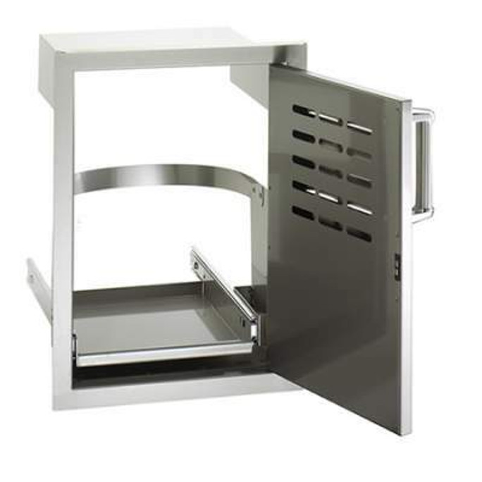 Fire Magic Premium Single Access Door with Louvers & Tank Tray  Open