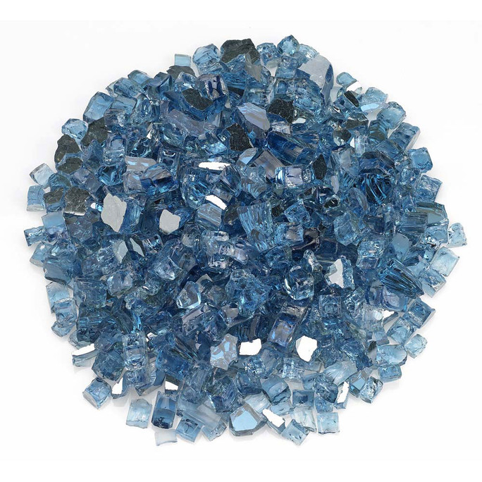 "American Fireglass 1/2"" Pacific Blue Reflective Fire Glass 10lbs"