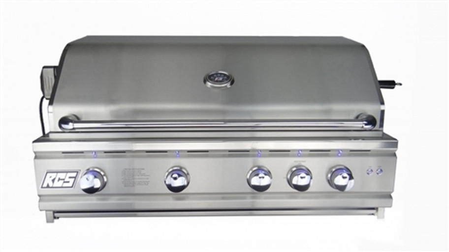 """RCS RON42a 42"""" Cutlass Pro Series Grill, Blue LED with Rear Burner Hood closed"""
