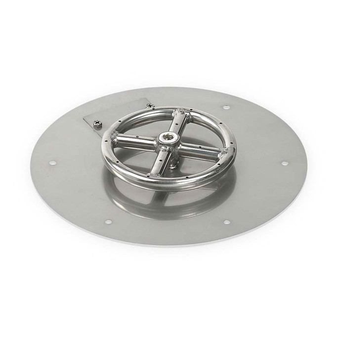 "American Fireglass 12"" Round Stainless Steel Flat Pan (1/2"" Nipple)"