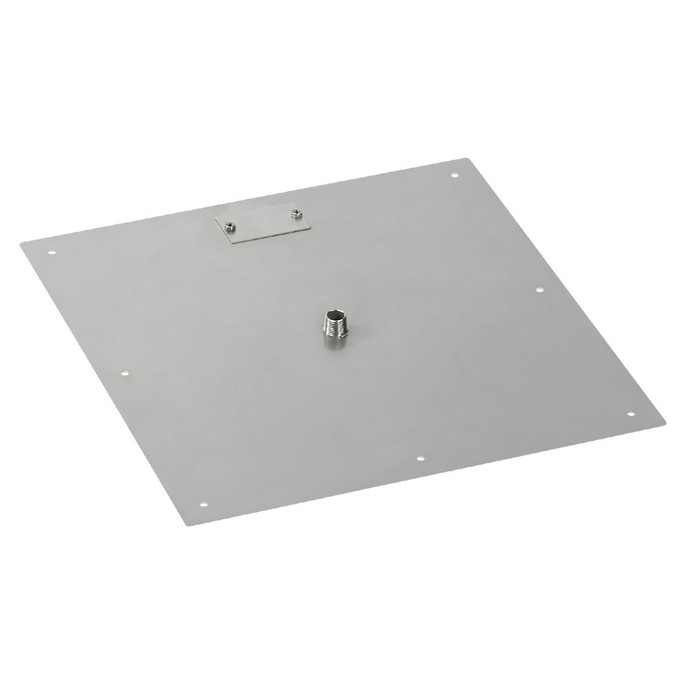 "American Fireglass 18"" Square Stainless Steel Flat Pan (1/2"" Nipple)"
