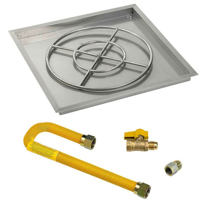 """American Fireglass Square 30"""" Drop-In Pan with Match Lite Kit"""