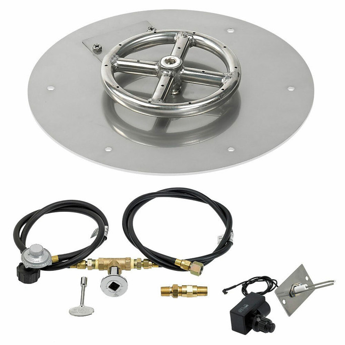 """American Fireglass 12"""" Round Flat Pan with Spark Ignition Kit"""