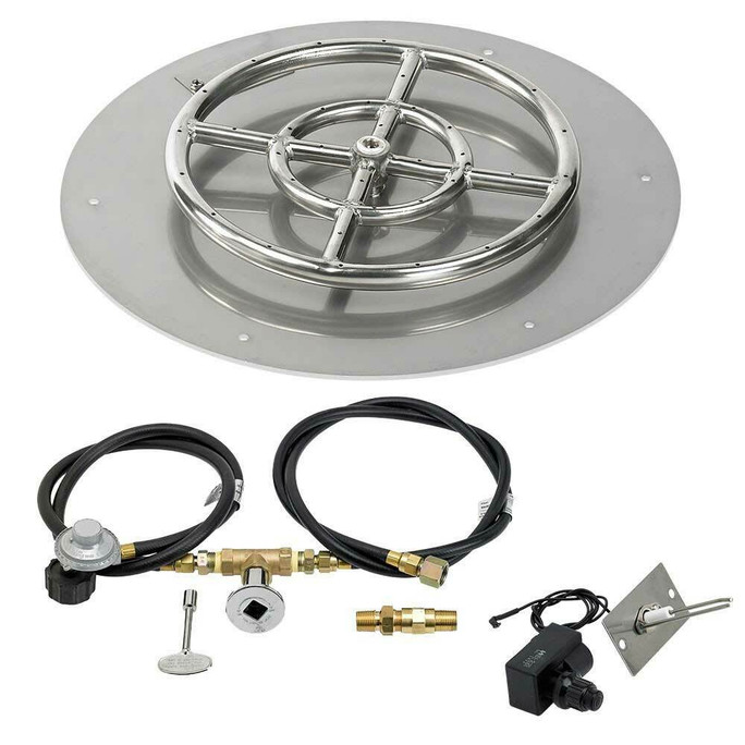 "American Fireglass 18"" Round Flat Pan with Spark Ignition Kit - Propane"