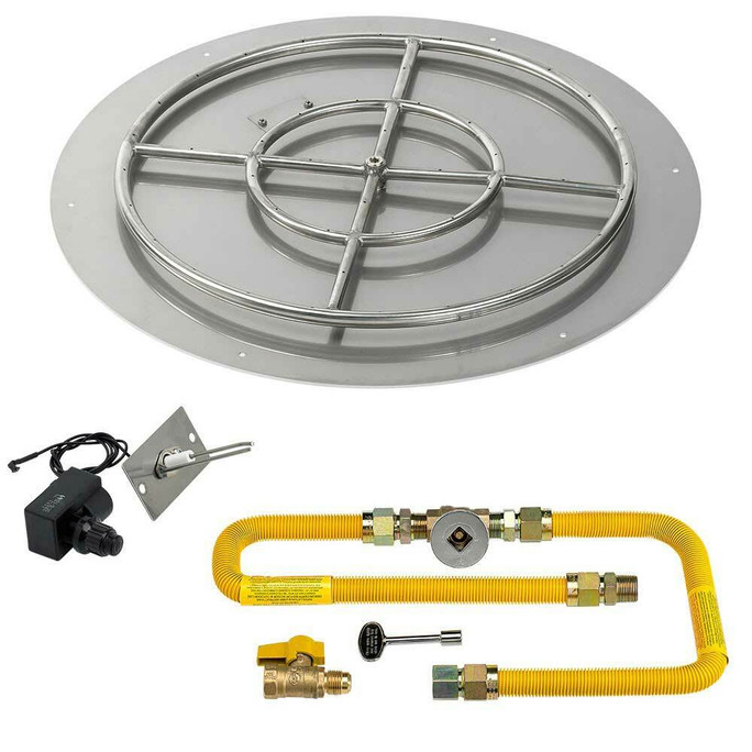 """American Fireglass Round 30"""" Flat Pan with Spark Ignition Kit"""