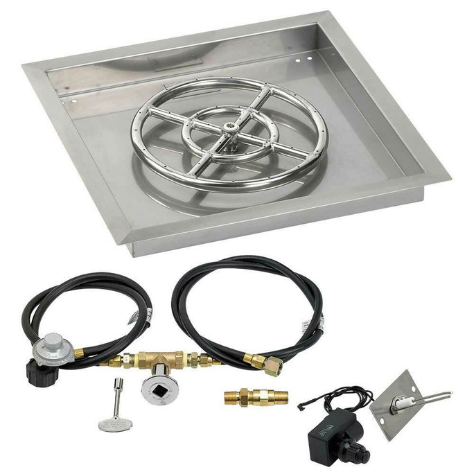 """American Fireglass 18"""" Square Drop-In Pan with Spark Ignition Kit - Propane"""