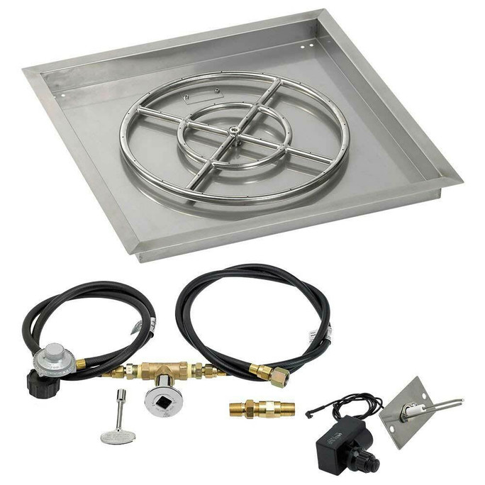 """American Fireglass 24"""" Square Drop-In Pan with Spark Ignition Kit - Propane"""