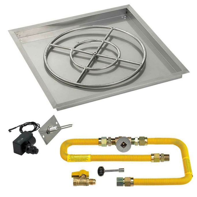 """American Fireglass Square 30"""" Drop-In Pan with Spark Ignition Kit"""
