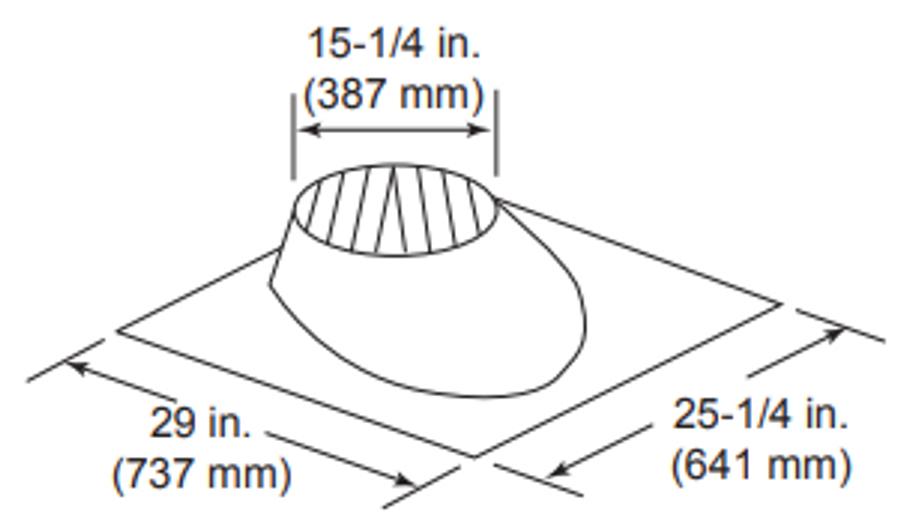 Majestic RF570 Roof Flashing, 0 - 6/12 Pitch - 11 Inch Diameter