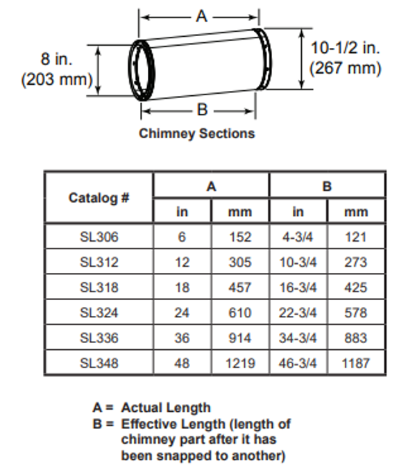 Majestic SL306 6 Inch Chimney Section - 8 Inch Diameter