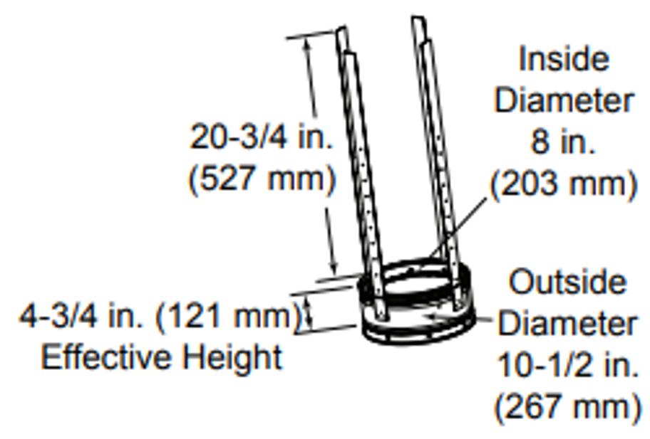 Majestic SL3 6 Inch Flue Support Section - 8 Inch Diameter