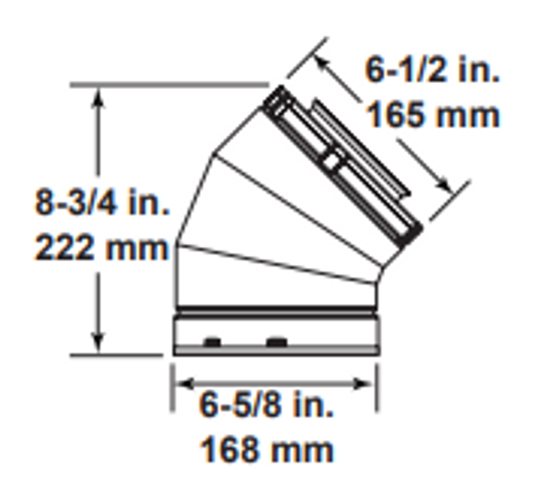 Majestic SLP45-BK 45 Degree Elbow