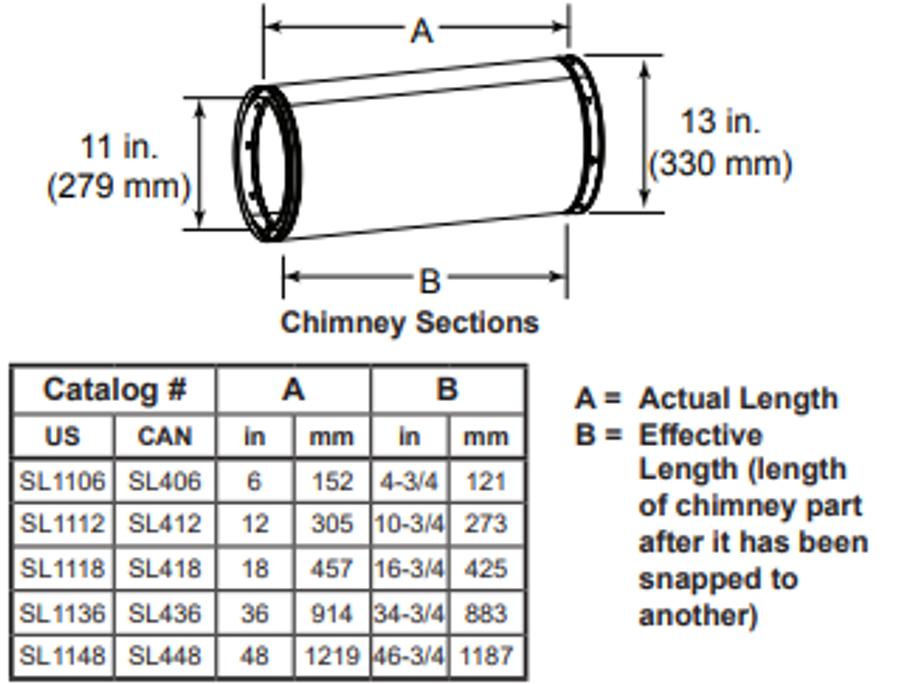 Majestic SL412 12 Inch Chimney Section - 11 Inch Diameter