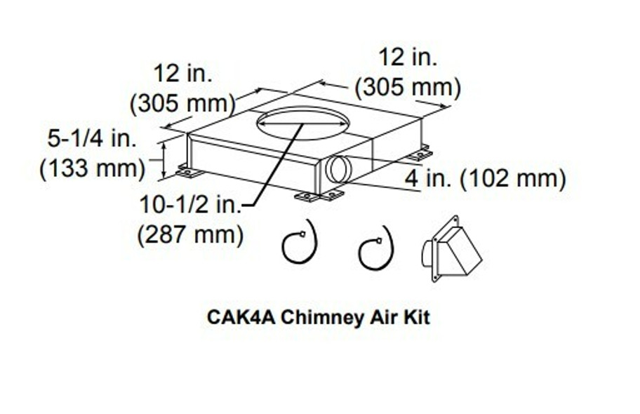 Majestic CAK4A Chimney Air Kit for 300 Series Chimney Systems