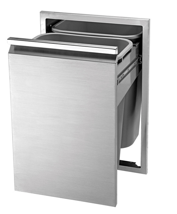 Twin Eagles 18 Inch Double Tall Trash Drawer, 2 Trash Cans Included