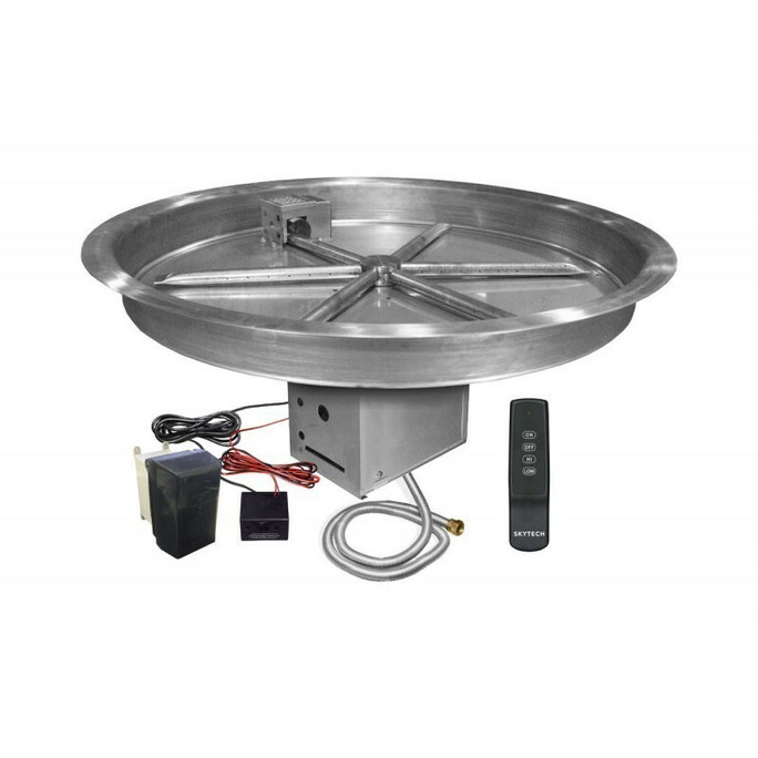 Firegear UL Listed Electronic Ignition Gas Fire Pit Burner Kit, Round Bowl Pan 19 Inch