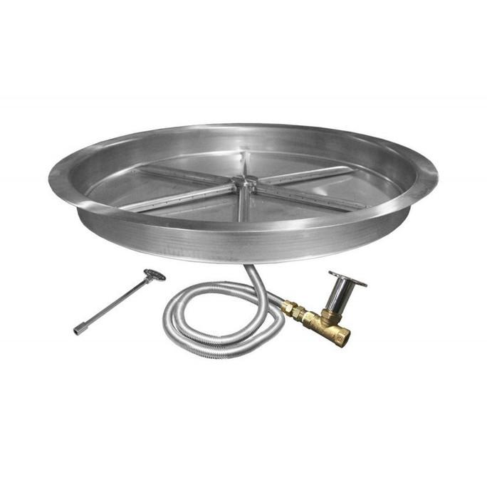 Firegear Match Light Gas Fire Pit Burner Kit, Round Bowl Pan 16 Inch