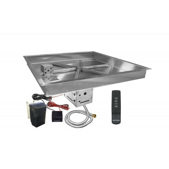 Firegear UL Listed Electronic Ignition Gas Fire Pit Burner Kit, Square Bowl Pan 25 Inch