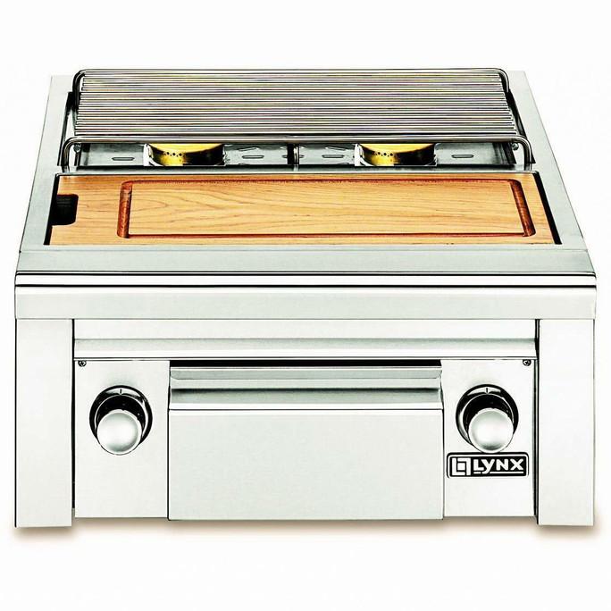 Lynx Double, side by side burners, maple cutting board & drawer
