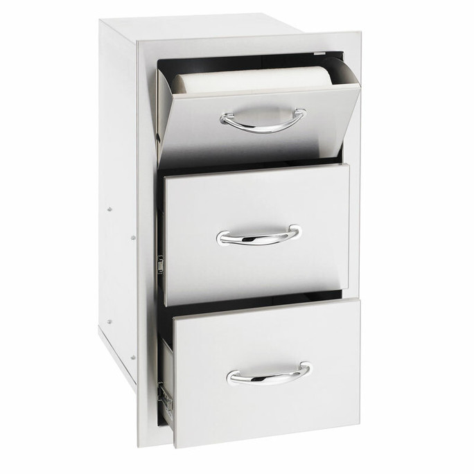 """17"""" North American Stainless Steel Vertical 2-Drawer & Paper Towel Holder Combo w/ Masonry Frame Return (SSTDC-17M)"""