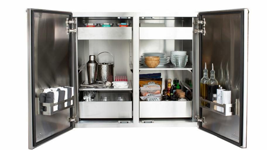 """Madera 40x34"""" Integrated North American Stainless Steel & Ipe Full Height Vertical Dry Storage Pantry (SSMP-40V-IP)"""