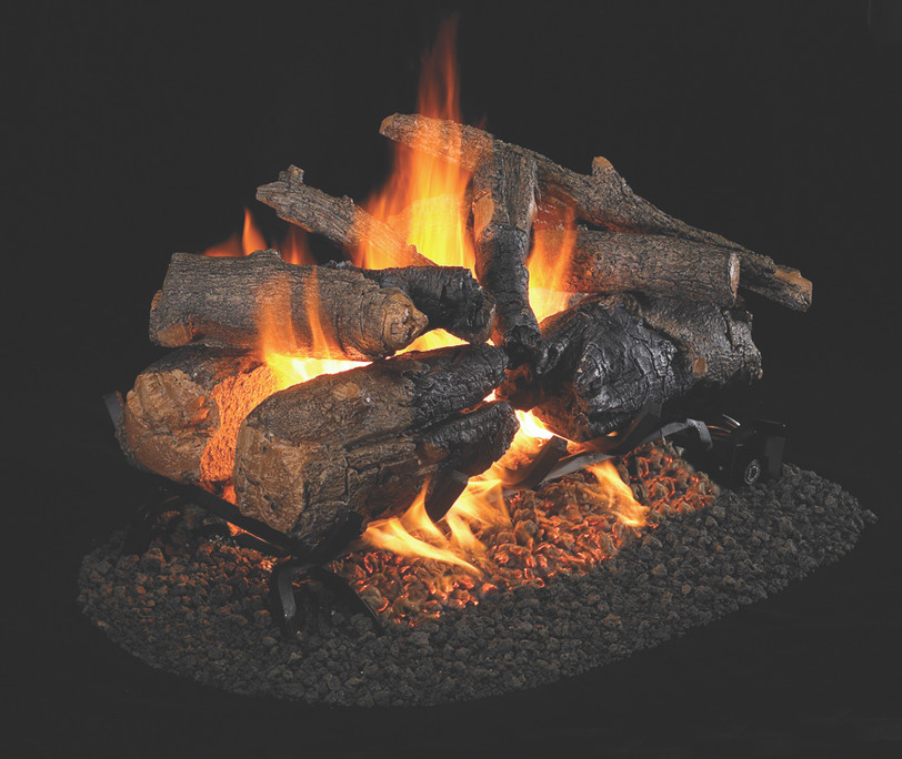 Real Fyre See-Thru Charred American Oak Vented Gas Logs (CHAO-2-18/20), 18-Inch