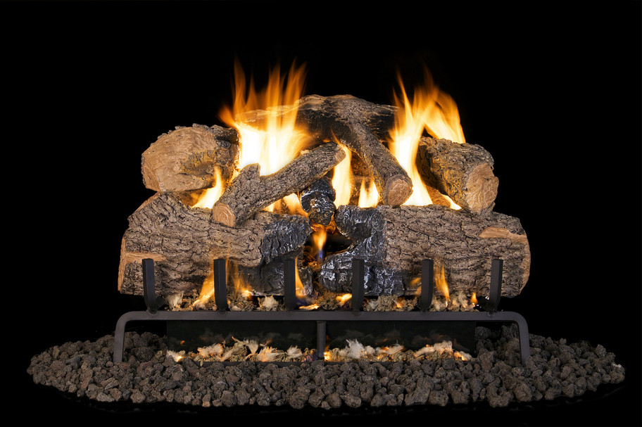 Real Fyre Charred Angle Oak Vented Gas Logs (CHNA-24), 24-Inch