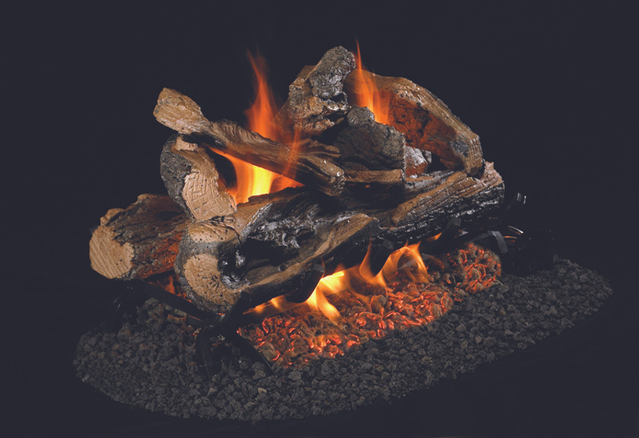 Real Fyre See-Thru Charred Rugged Split Oak Vented Log Set (CHRRSO-2-18), 18-Inch