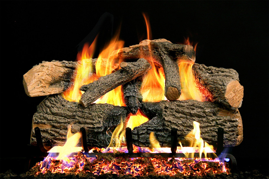 Real Fyre Charred Evergreen Oak Vented Gas Logs (ENO-18), 18-Inch