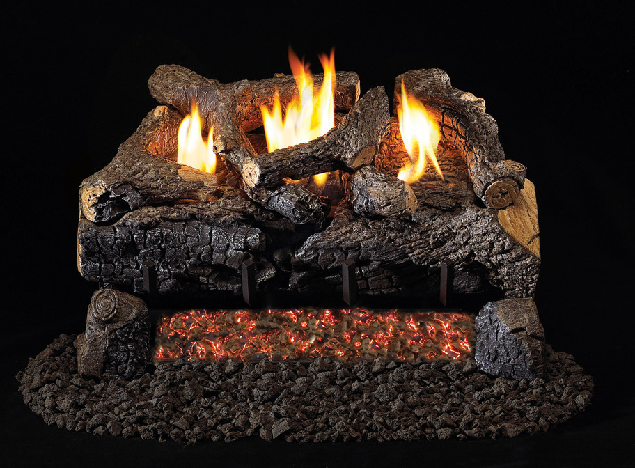 Real Fyre Evening Fyre Charred Vent-Free Gas Logs (ECV-24), 24-Inch