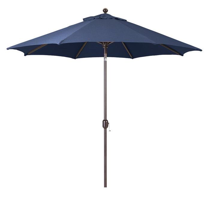 Galtech 9-Foot (Model 737) Deluxe Auto-Tilt Umbrella with Antique Bronze Frame and Sunbrella Fabric Navy