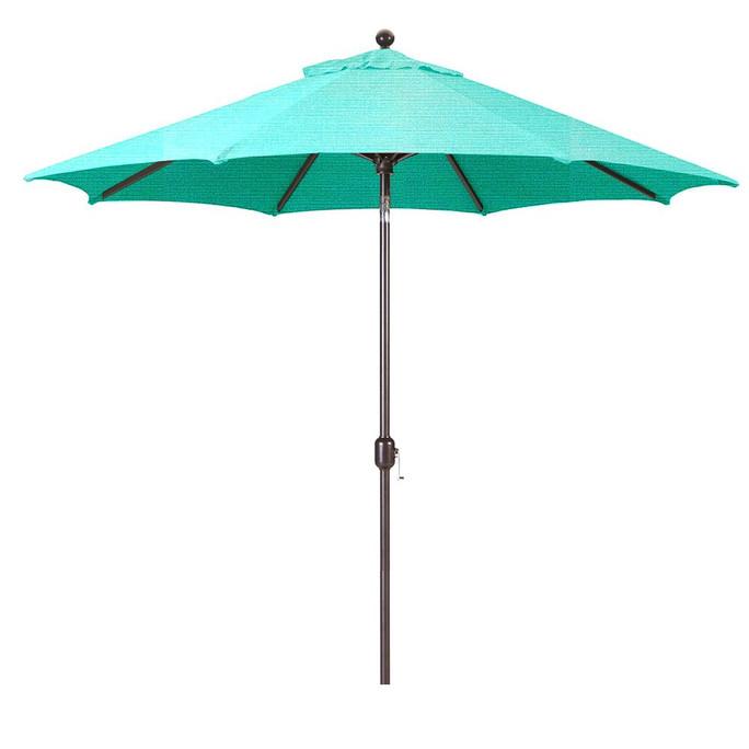 Galtech 9-Foot (Model 737) Deluxe Auto-Tilt Umbrella with Antique Bronze Frame and Sunbrella Fabric Aruba