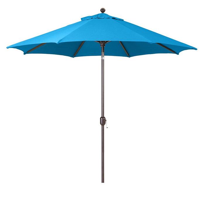 Galtech 9-Foot (Model 737) Deluxe Auto-Tilt Umbrella with Antique Bronze Frame and Sunbrella Fabric Pacific Blue