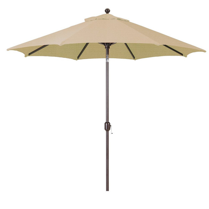 Galtech 9-Foot  (Model 737) Deluxe Auto-Tilt Umbrella with Antique Bronze Frame and Sunbrella Fabric Heather Beige
