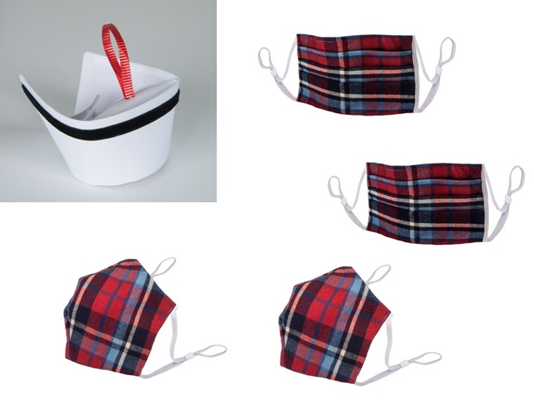 Holiday Pack - Ornament and 2 M1 Red Plaid Masks, 2 M2 Plaid Masks