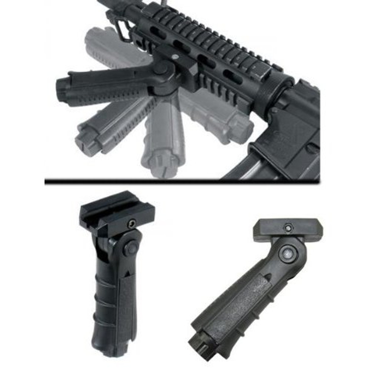 Black Foldable Tactical Front Foregrip for Rifle Picatinny Rail Mount