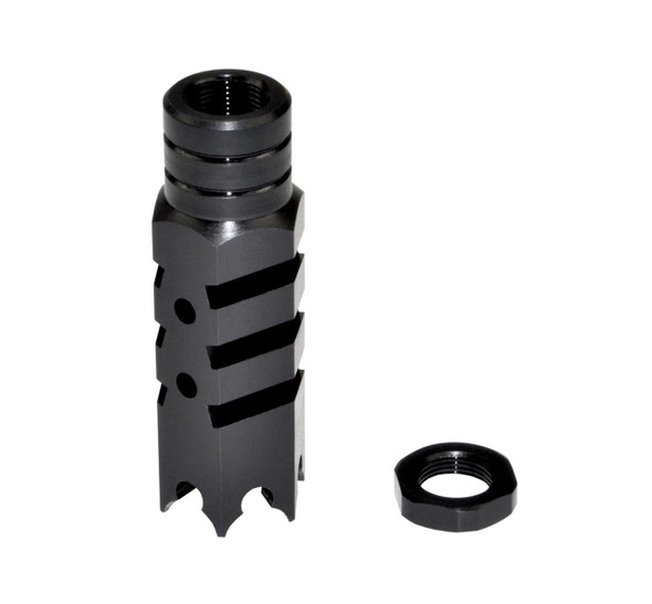 AR-15 SharkTeeth 1/2x28 Competition Grade Muzzle Brake, Steel with Black Phosphate Finish