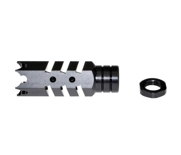 AR-10 LR .308/7.62 NATO - Sharkteeth 5/8x24 Muzzle Brake, Black Steel