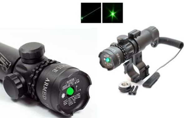 Ade Advanced Optics 532nm Tactical Green Laser Sight Hunting Rifle Dot Scope with On/Off Swith Picatinny/Weaver Mounts + Barrel Mount