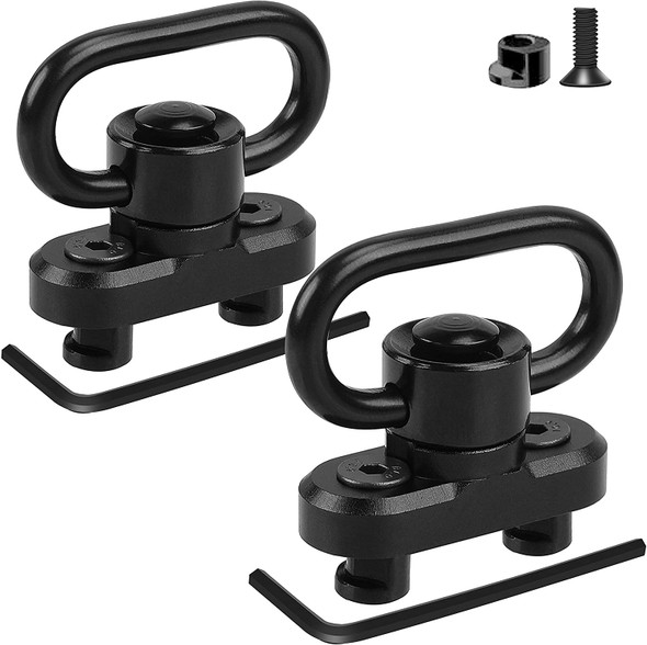 Pack of 2! Quick Detach/Release 1.25' Push Button QD Sling Swivels Mount Adapter Base Attachment for Keymod HandGuard Rail