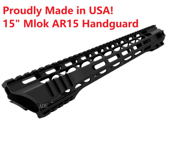 "MADE IN USA!- ADE PRO 15"" INCH MLOK RAIL SUPER SLIM HANDGUARD FREE FLOAT for AR15 - Slant Cut END"