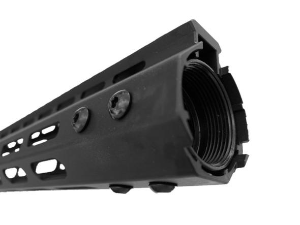 "MADE IN USA! - 15"" INCH MLOK RAIL SUPER SLIM HANDGUARD FREE FLOAT for AR15 - See Through Design"