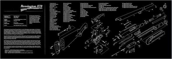 "Long REMINGTON 870 Rifle Gun Cleaning Bench Mat with Rifle Parts List Non-Slip 12"" x 36"""