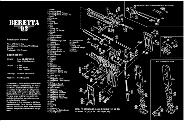 "Beretta 92 92SF Handgun Gun Cleaning Mat 11""x17"" with Parts Schematic Mouse Pad"