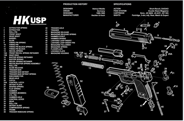 "HK USP Handgun Gun Cleaning Mat 11""x17"" with Parts Schematic Mouse Pad"