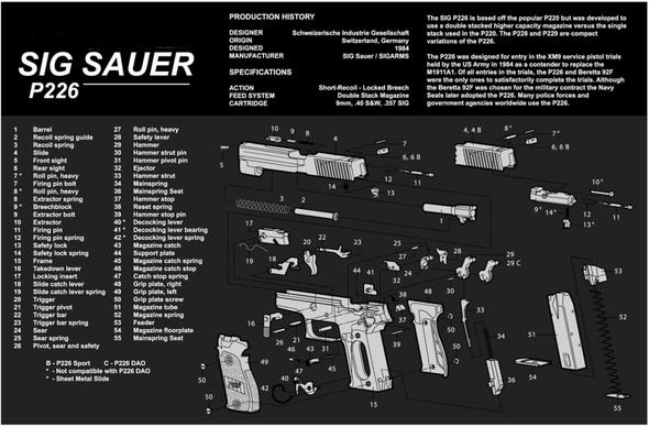 "Sig Sauer P226 Pistol Handgun Gun Cleaning Mat 11""x17"" with Parts Schematic Mouse Pad"